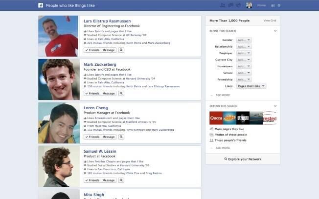 Busca social do Facebook permite localizar informações sobre pessoas