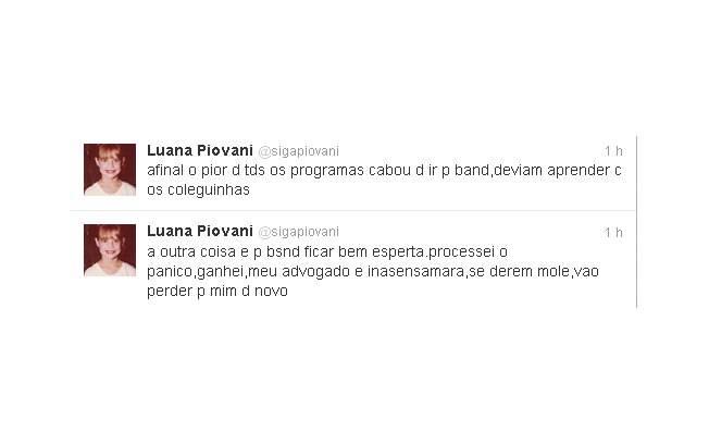Luana Piovani ameaça Band