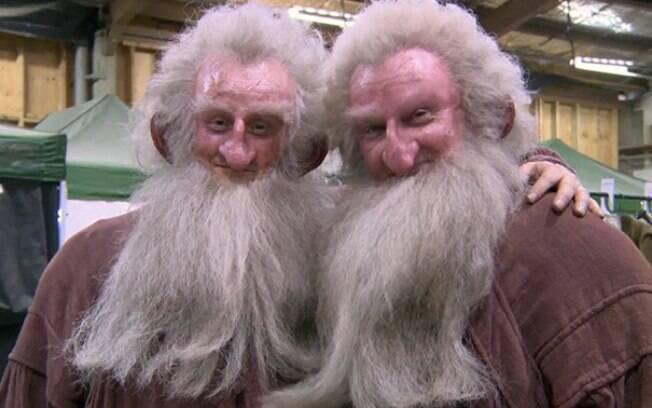 Ken Stott e seu dublê Peter Dillon durante filmagens