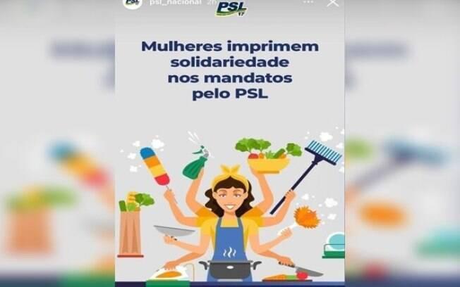PSL faz homenagem às mulheres com referência a trabalhos domésticos