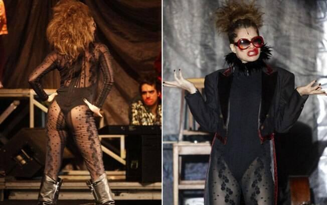 Letícia Spiller em dois momentos da peça, que foi apresentada em Angra dos Reis no sábado (15)