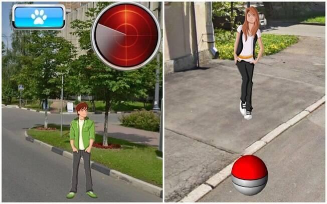 Telas dos games Pocket Boyfriend Go e Pocket Girlfriend Go, aplicativos inspirados em Pokémon Go