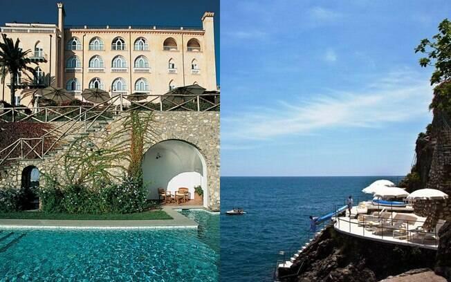 A piscina do hotel Palazzo Sasso está encravada em um penhasco na Costa Amalfitana