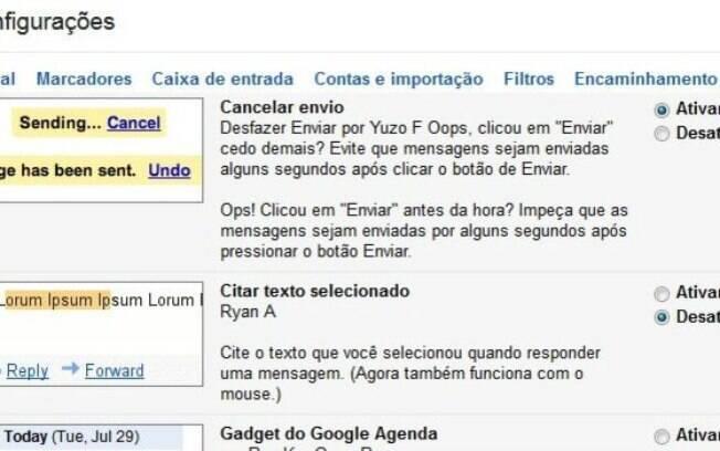 Recurso experimental do Gmail permite que mensagens enviadas sejam canceladas