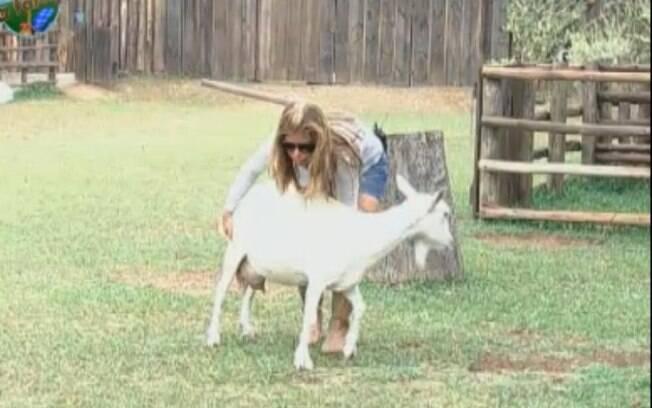 Raquel tenta, na conversa, convencer a cabra a descer para o pasto
