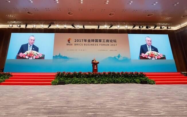 Michel Temer discursou durante a 9ª Cúpula do Brics, na China – segundo ele, viagem gerou interesse bilionário no Brasil