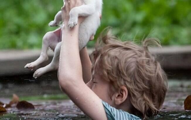 Menino salvado um filhote de cachorro de se afogar.