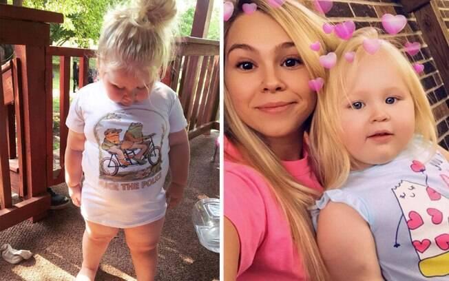A blusa que a menina usa na foto está com a frase
