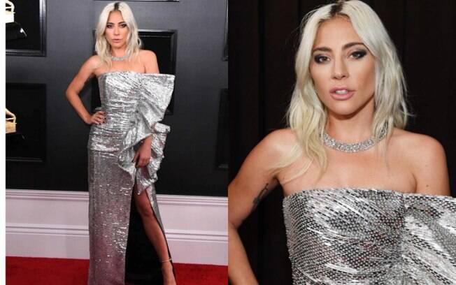 Looks das famosas: o vestido Celine de Lady Gaga chamou atenção pelo brilho, fenda e babados que deixaram o visual 'glam'