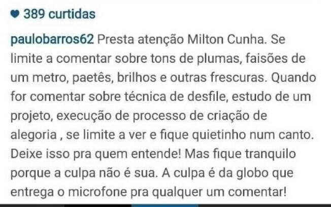 Paulo Barros usou seu Instagram para criticar o comentarista da Rede Globo