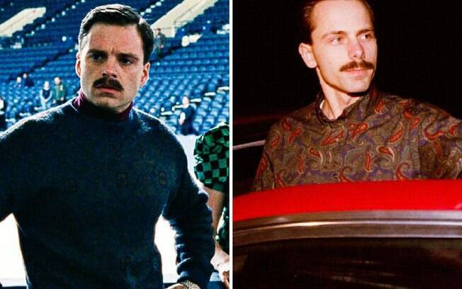 Sebastian Stan (esq) assume o papel do ex-marido de Tonya, o abusivo Jeff Gillooly em
