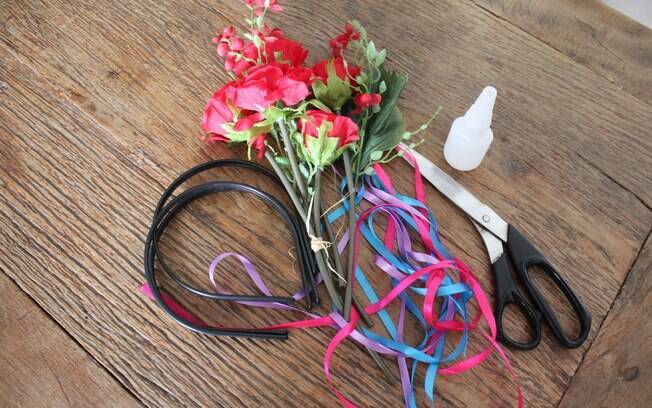 Materias para criar a tiara de flores