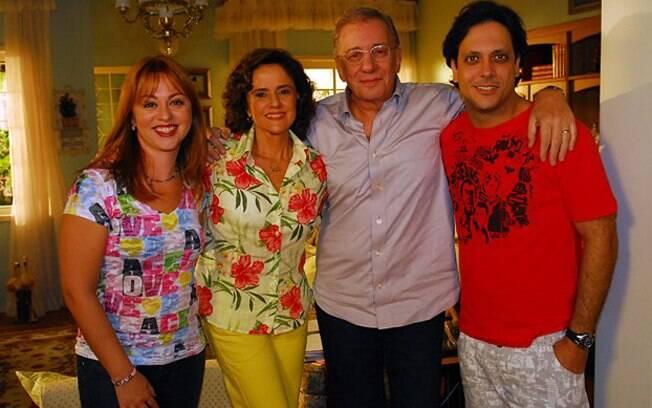 Lineu e Nenê com os filhos Tuco e Bebel, em 2010