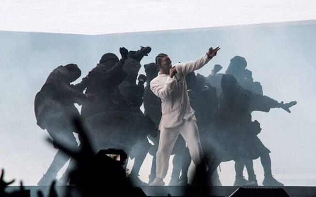 Kendrick Lamar em show no Coachella, nos Estados Unidos, nesse domingo (16)