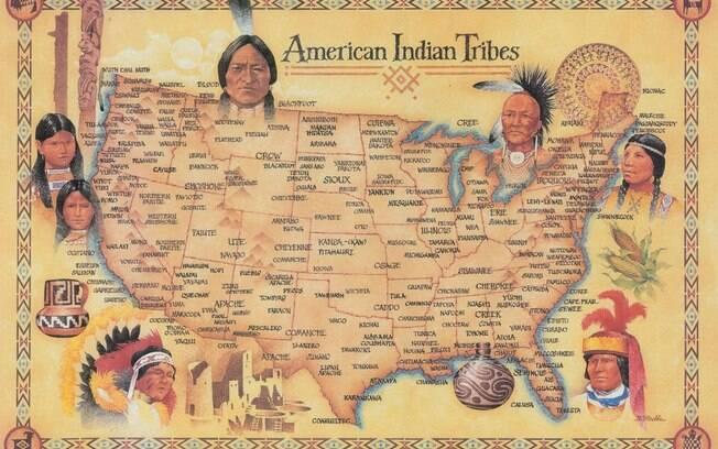 Mapa das tribos indígenas norte-americanas