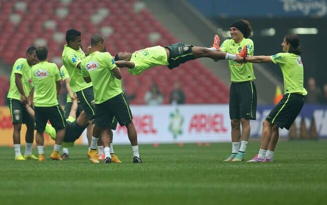 Treino da seleção brasileira em Pequim na véspera da partida contra a  Argentina. Foto  a59374c3bca4b