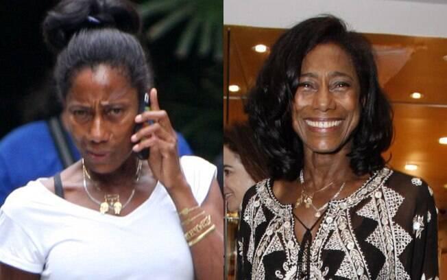 Antes e depois: Glória Maria aparece sem maquiagem nesta segunda-feira (19), no Rio. Compare ela com e sem a make