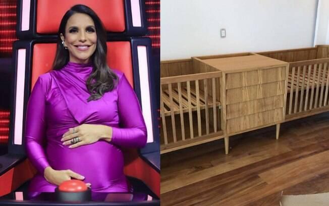 Cantora Ivete Sangalo já está preparando o quarto de gêmeos para receber as filhas e revelou berços nas redes sociais