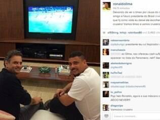 Ronaldo deixou Aécio assistir ao jogo do Cruzeiro na noite dessa quinta-feira