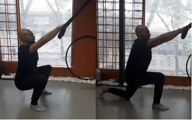 Pilates suspenso: agachamentos e afundos podem ser feitos com o auxílio das fitas de suspensão