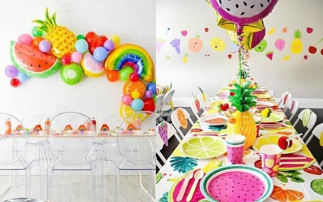 Mesa dos convidados e  paredes também podem ser enfeitadas com cores e frutas, não precisa ficar só na mesa do bolo