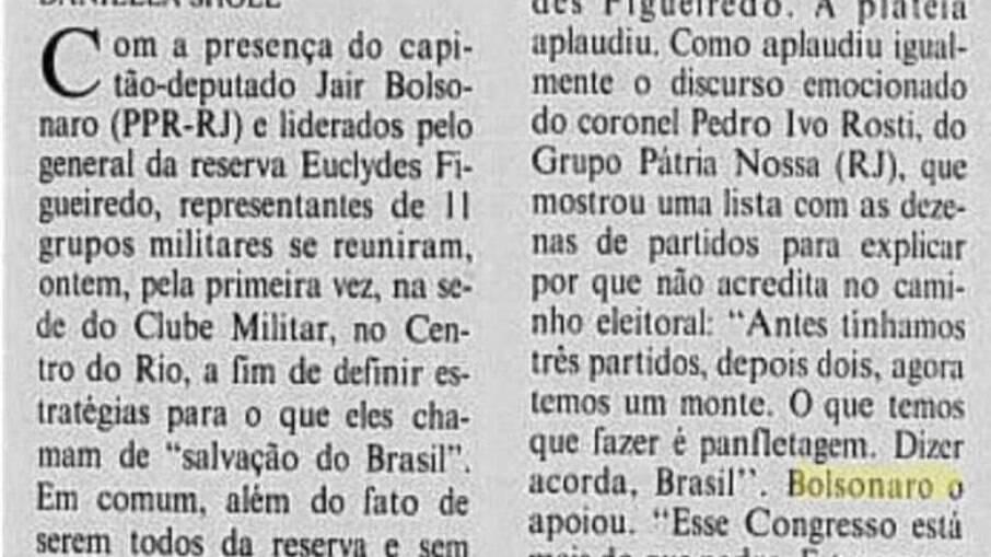 Matéria de 1993 mostra Bolsonaro defendendo urnas eletrônicas