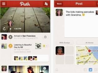 Rede social Path, disponível por meio de aplicativo, permite compartilhar informações com os mais próximos