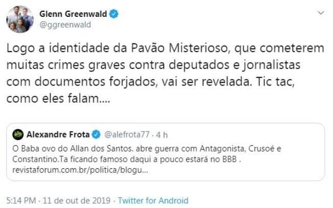 Tweet foi feito na tarde desta sexta-feira (7) na conta oficial do jornalista.