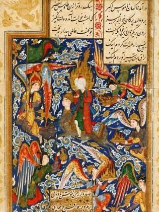 Imagem de manuscrito iraniano do século 16 mostra a ascensão ao paraíso
