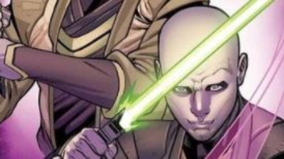 Um dos personagens não-binários na capa do quadrinho