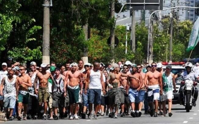 Membros de torcida organizada do Palmeiras