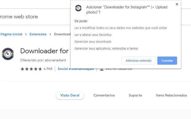 Segundo passo: Adicionar a extensão do Downloader for Instagram