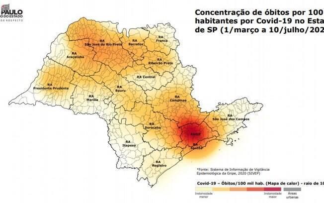 Mapa aponta áreas mais atingidas pela Covid-19