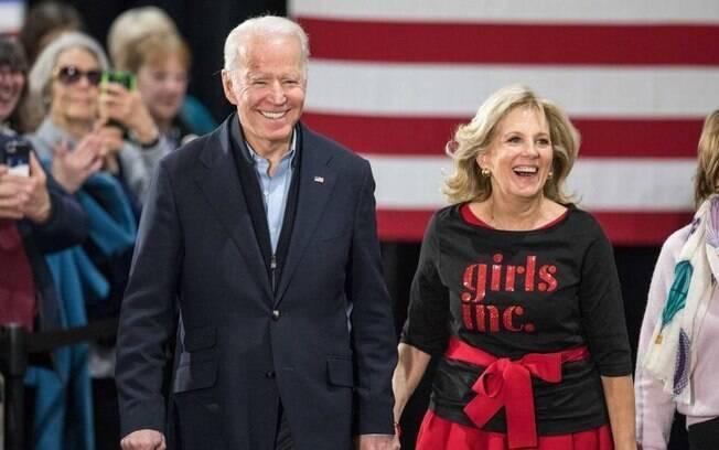 Jill Biden com o marido Joe Biden durante a campanha democrata