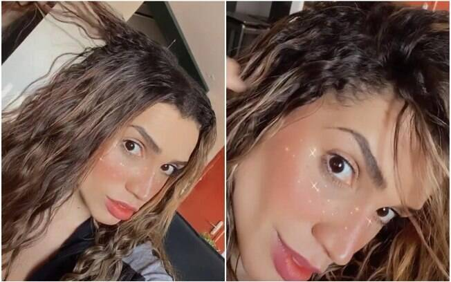paula amorim mostrando cabelo