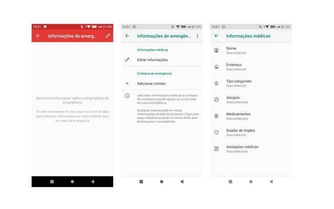Caminho para editar as informações de emergência no Android