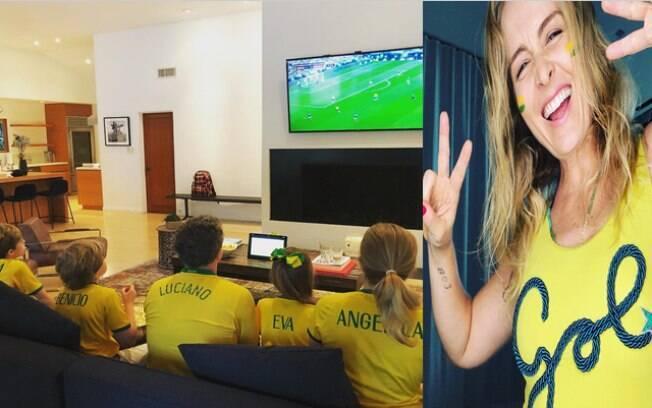Angelica torce para o Brasil com a família em casa