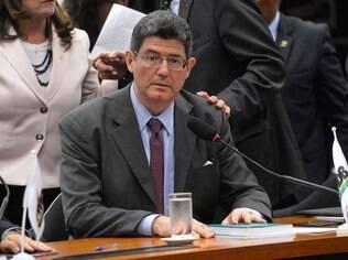 O ministro da Fazenda, Joaquim Levy, durante reunião com bancada do PMDB na Câmara dos Deputados (19/05)