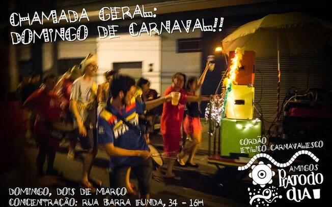 Cordão Carnavalesco Amigos do Pratododia anima bairro da Barra Funda