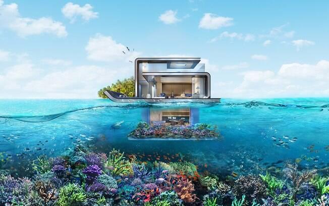 Em todas as casas, haverá um andar submerso com duas suítes de paredes transparentes e vista para o oceano
