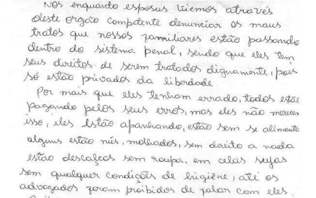 Carta enviada ao MPF pela mulher de um dos presos do complexo penitenciário de Americano, de Santa Izabel