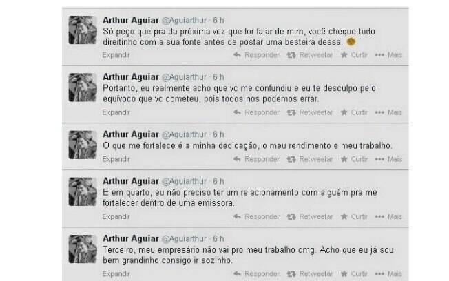 No Twitter, Arthur Aguiar responde críticas de Fabíola Raipert