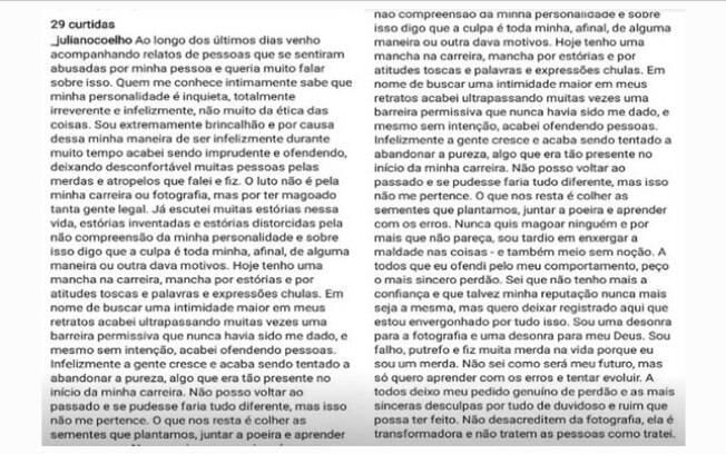 Juliano Coelho se desligou das redes sociais, mas antes usou seu perfil para comentar as acusações
