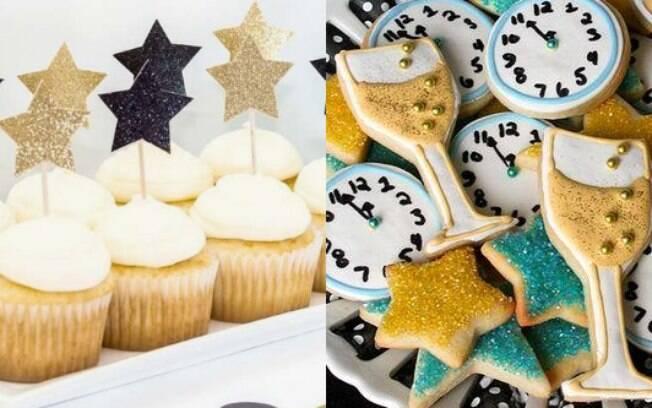 Biscoitos e cupcakes decorados com as cores ou relógios também vão fazer sucesso na sua festa de Ano Novo