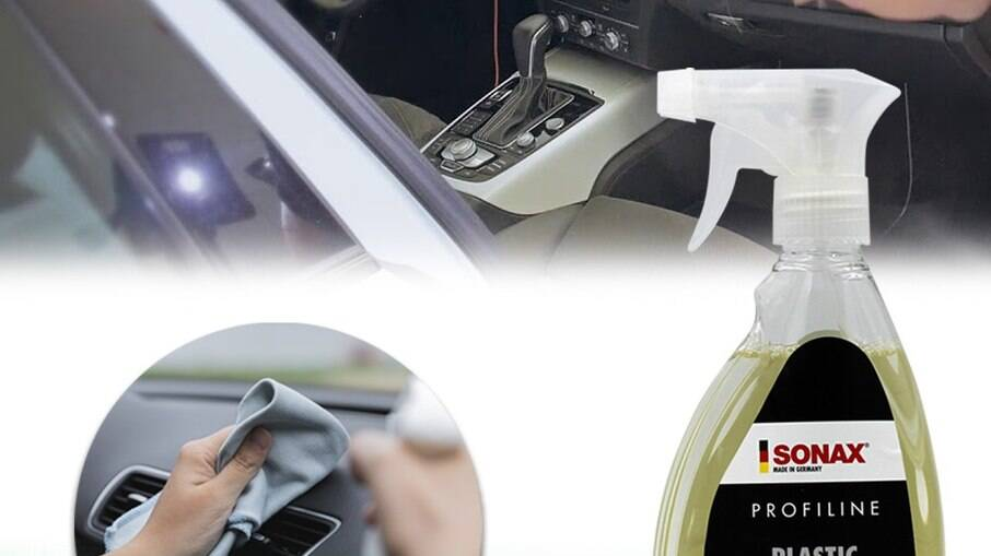 Com pouca quantidade é possível remover grande parte da sujeira do acabamento plástico do veículo
