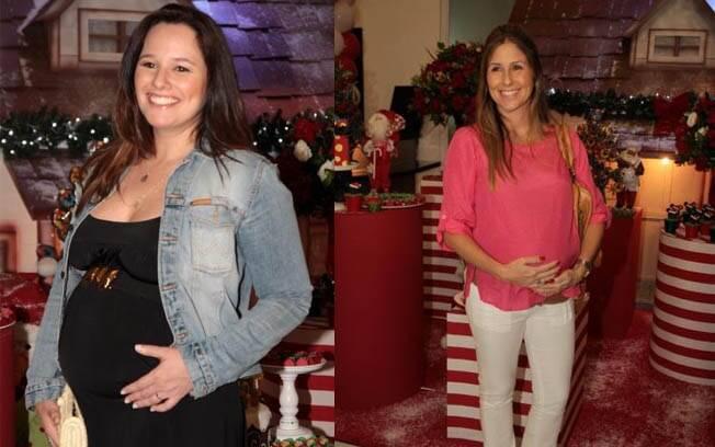 A cantora Mariana Belém e a apresentadora Patrícia Maldonado, grávidas, em festa de final de ano