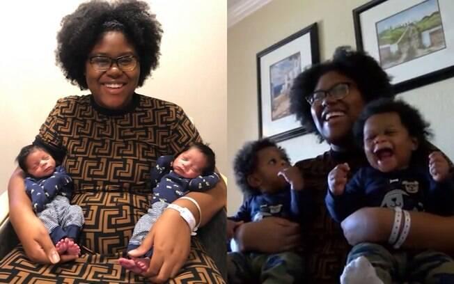 Alexzandria Wolliston deu à luz dois meninos em março e, em maio, ela descobriu que estava grávida novamente de gêmeos