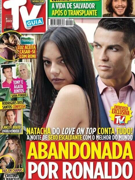 Natacha Sofia, suposta amante de Cristiano Ronaldo, na capa da revista TV Guia