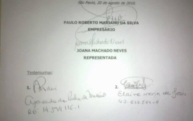 Parte do contrato assinado por Joana Machado com o escritório de Alexandre Frota e Paulo Roberto Mariano