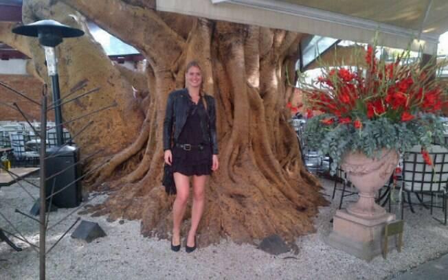 Bar Refaeli apoiada em uma árvore em São Paulo